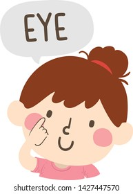 Illustration of a Kid Girl Pointing to and Saying Eye as Part of Naming Body or Face Parts Series