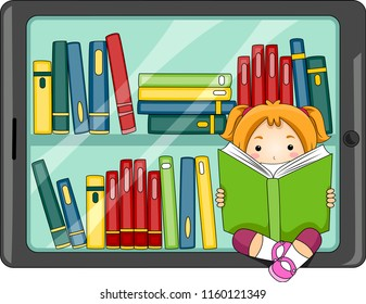 Illustration of a Kid Girl Reading a Book with a Computer Tablet with Books. Digital Library Concept