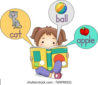 Illustration of a Kid Girl Reading a Picture Dictionary Book with Samples like Cat, Ball and Apple