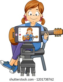 Illustration of a Kid Girl Recording Her Self Through Mobile Phone, Playing an Acoustic Guitar