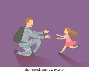 Illustration of a Kid Girl Running Happily Towards Her Father Returning Home