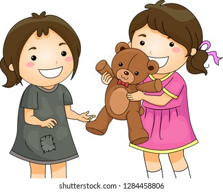 2d3bc6aa30f5c Illustration of a Kid Girl Sharing and Giving Her Teddy Bear Toy to a Less  Unfortunate