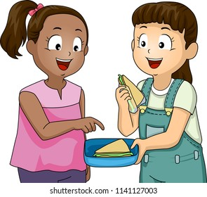 Illustration of a Kid Girl Sharing Sandwich with a Friend. Positive Character Trait or Values