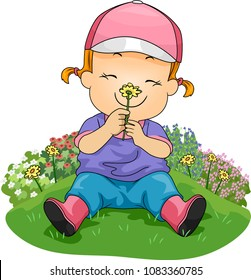 Illustration of a Kid Girl Sitting on the Grass and Smelling a Flower in the Garden