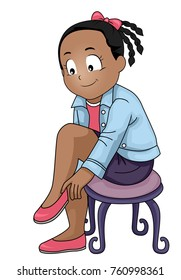 Illustration of a Kid Girl Sitting on a Chair Putting on Shoes
