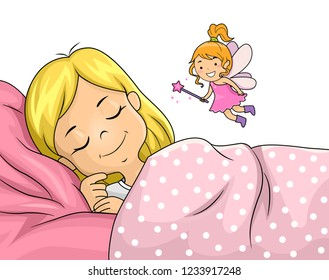 Illustration of a Kid Girl Sleeping and a Tooth Fairy Floating Above