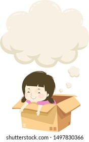 Illustration of a Kid Girl Smiling and Thinking from Inside a Cardboard Box, with a Thinking Cloud Above