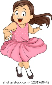 Illustration of a Kid Girl Smiling, Twirling and Dancing