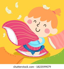 Illustration of a Kid Girl Squeezing a Pillow Hard with Feathers Floating Around