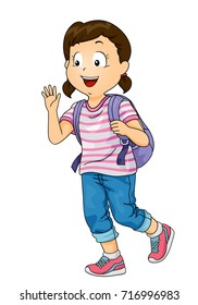 Illustration of a Kid Girl Student with Backpack Waving at Someone She Knows