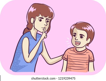 Illustration of a Kid Girl Telling a Talkative Kid Boy to Keep Quiet