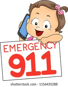 Illustration of a Kid Girl Toddler Using Mobile Phone Pointing to a Board with Emergency 911