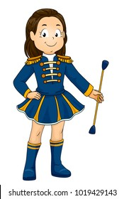 Illustration of a Kid Girl In Uniform Holding a Baton