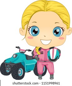 Illustration of a Kid Girl in Uniform and Holding Helmet with Quad Bike Behind Her