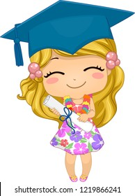 Illustration of a Kid Girl Wearing Floral Dress and Graduation Cap, Holding a Certificate