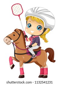 Illustration of a Kid Girl Wearing Helmet and Holding a Racket Riding a Horse to Play Polocrosse