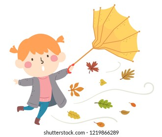 Illustration of a Kid Girl Wearing Jacket and Boots with Umbrella Being Blown Away Together with Autumn Leaves