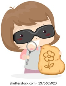 Illustration of a Kid Girl Wearing Sunglasses and Holding Magnifying Glass to Create Solar Pyrography