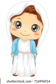 Illustration of a Kid Girl Wearing a Virgin Mary Costume for a Play