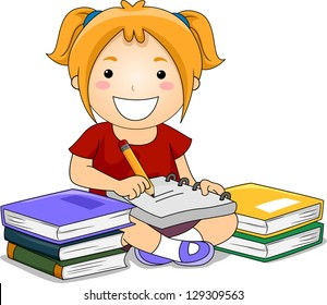 Illustration of Kid Girl Writing notes with books on her side