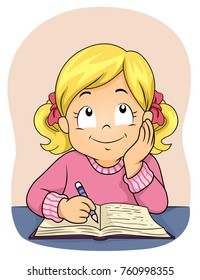 Illustration of a Kid Girl Writing Notes on her Book and Thinking