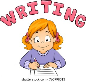 Illustration of a Kid Girl Writing on a Paper with Writing Lettering