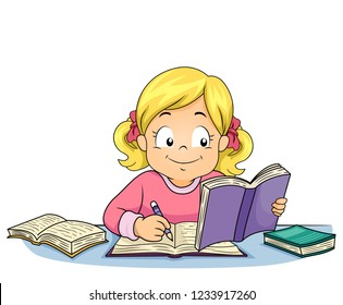 Illustration of a Kid Girl Writing, Studying and Reading a Book