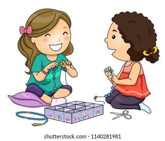 Illustration of Kid Girls Making Charm Bracelets or Prayer Beads