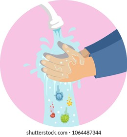 Illustration of a Kid Hands Washing Hands Under Faucet with Germs Falling Down