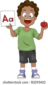 Illustration of a Kid Holding an Apple and a Flashcard