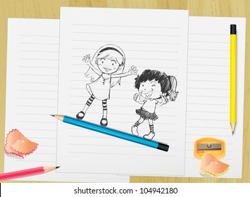 Illustration of kid on paper with pencils