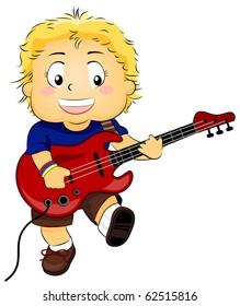 Illustration of a Kid Strumming His Guitar