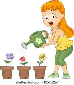 Illustration of a Kid Watering Flowers / Gardening Club