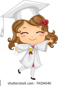 Illustration of a Kid Wearing Graduation Attire