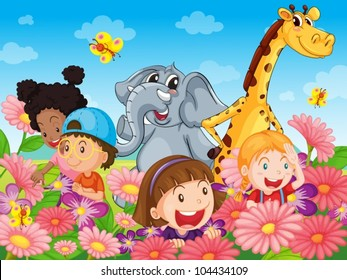Illustration of kids with animals