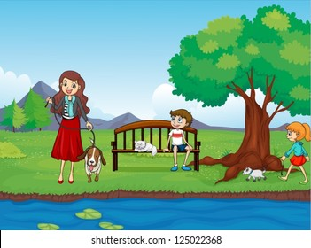 Illustration of kids and animals in a beautiful nature
