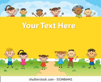 illustration of kids around square banner behind poster vector