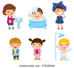 illustration of kids and bathroom accessories on a white background