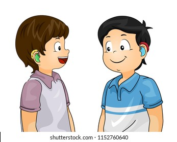 Illustration of Kids Boys with Hearing Aid Talking to Each Other