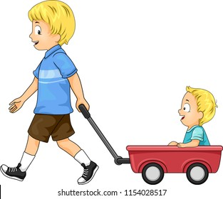 Illustration of Kids Boys with Older Brother Pulling Red Toy Wagon Carrying His Younger Brother