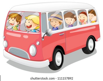 illustration of kids in a bus on white background