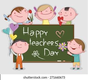Illustration of Kids Celebrating Teachers' Day