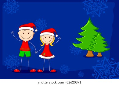 illustration of kids in christmas costume with christmas tree and snowflake