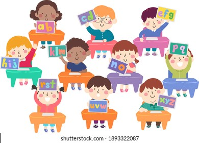 Illustration of Kids In Classroom Sitting Down and Showing their Tablets with the Alphabet