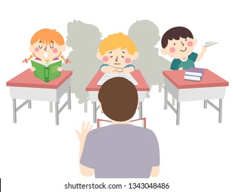 Illustration of Kids In Classroom Sitting on Their Desks and Not Paying Attention to their Teacher