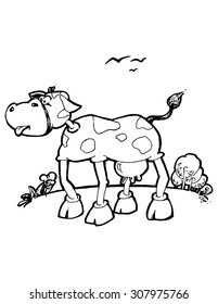 illustration for kids COW funny simple