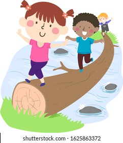 Illustration of Kids Crossing a Tree Trunk Bridge Across a River or Stream Outdoors