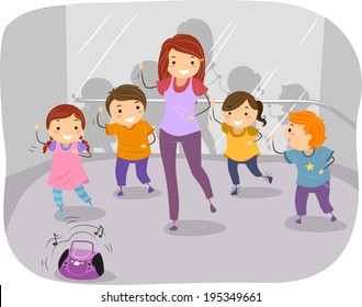 Illustration of Kids in a Dancing Class