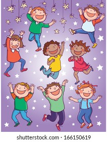 Illustration of Kids dancing jumping with the stars. Children illustration for School books, pictures books, magazines, advertising and more. Separate Objects. VECTOR.