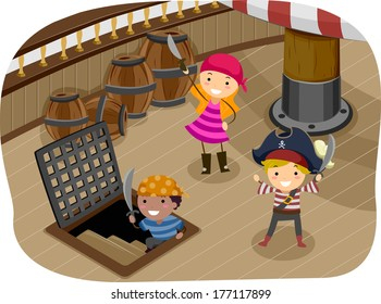 Illustration of Kids Dressed in Pirate Gear Playing on the Ship Deck